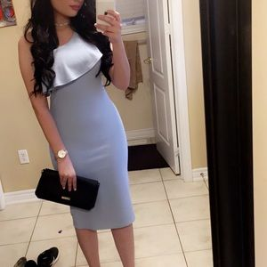 One shoulder baby blue midi dress